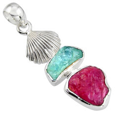 9.47cts natural pink ruby rough aquamarine rough 925 silver pendant r1747