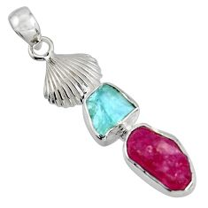 925 silver 9.04cts natural pink ruby rough aquamarine rough pendant r1748