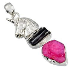 12.34cts natural pink ruby rough tourmaline rough 925 silver horse pendant r1753