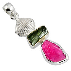 925 silver 9.67cts natural pink ruby rough tourmaline rough pendant r1757