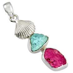 925 silver 7.97cts natural pink ruby rough aquamarine rough pendant r1764