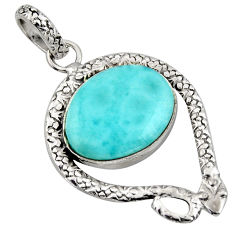 13.79cts natural blue larimar 925 sterling silver snake pendant jewelry r1906