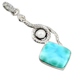 14.99cts natural blue larimar pearl 925 sterling silver snake pendant r1913