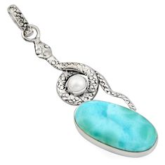 925 sterling silver 13.41cts natural blue larimar pearl snake pendant r1914