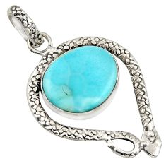 13.34cts natural blue larimar 925 sterling silver snake pendant jewelry r1916