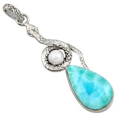 15.76cts natural blue larimar pearl 925 sterling silver snake pendant r1917