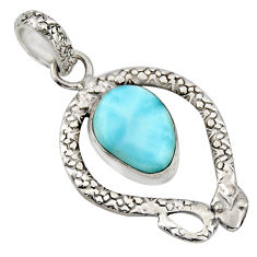 925 sterling silver 5.74cts natural blue larimar snake pendant jewelry r1918