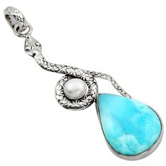 16.46cts natural blue larimar pearl 925 sterling silver snake pendant r1919
