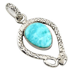 6.26cts natural blue larimar 925 sterling silver snake pendant jewelry r1920