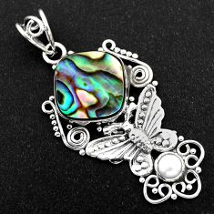 12.07cts natural green abalone paua seashell 925 silver butterfly pendant r1921