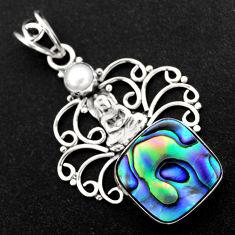 12.07cts natural green abalone paua seashell silver buddha charm pendant r1922
