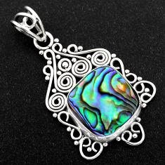 10.31cts natural green abalone paua seashell 925 sterling silver pendant r1923