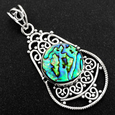 925 sterling silver 11.23cts natural green abalone paua seashell pendant r1924