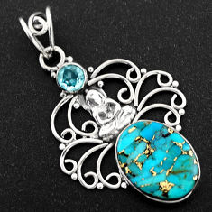 9.47cts blue copper turquoise topaz 925 silver buddha charm pendant r1932