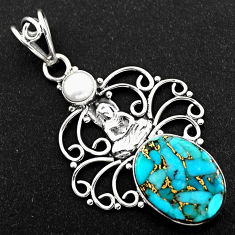 9.86cts blue copper turquoise pearl 925 silver buddha charm pendant r1933