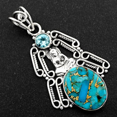 9.47cts blue copper turquoise topaz 925 silver buddha charm pendant r1938