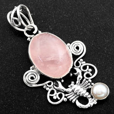 10.02cts natural pink rose quartz pearl 925 silver scorpion pendant r1941