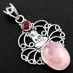 11.19cts natural pink rose quartz garnet 925 silver buddha charm pendant r1945