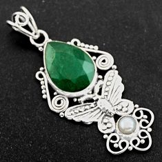 10.23cts natural green emerald pearl 925 sterling silver butterfly pendant r1952