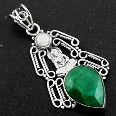 925 silver 11.19cts natural green emerald pearl buddha charm pendant r1954