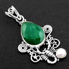11.06cts natural green emerald pearl 925 sterling silver scorpion pendant r1956