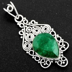 925 sterling silver 9.99cts natural green emerald pendant jewelry r1957