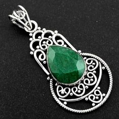 9.99cts natural green emerald 925 sterling silver pendant jewelry r1959