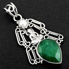 925 silver 11.06cts natural green emerald pearl buddha charm pendant r1960