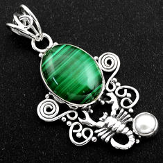 11.71cts natural green malachite (pilot's stone) silver scorpion pendant r1963