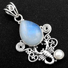 925 silver 10.37cts natural rainbow moonstone pearl scorpion pendant r1972