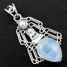 10.64cts natural rainbow moonstone pearl 925 silver buddha charm pendant r1973
