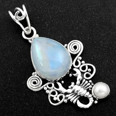 10.64cts natural rainbow moonstone pearl 925 silver scorpion pendant r1974