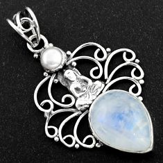 10.24cts natural rainbow moonstone pearl 925 silver buddha charm pendant r1977