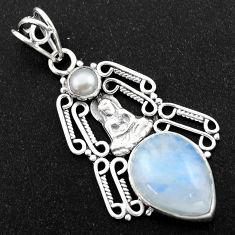 10.57cts natural rainbow moonstone pearl 925 silver buddha charm pendant r1980