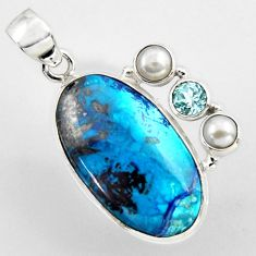 19.22cts natural blue shattuckite topaz pearl 925 sterling silver pendant r2246