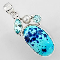 17.42cts natural blue shattuckite topaz pearl 925 sterling silver pendant r2253