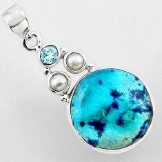 925 sterling silver 18.46cts natural blue shattuckite topaz pearl pendant r2256