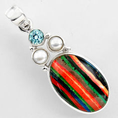 16.49cts natural multi color rainbow calsilica topaz 925 silver pendant r2262
