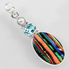 15.55cts natural multi color rainbow calsilica topaz 925 silver pendant r2266