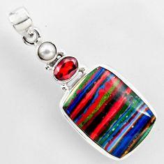 16.54cts natural multi color rainbow calsilica garnet 925 silver pendant r2267