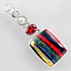 925 silver 15.02cts natural multi color rainbow calsilica garnet pendant r2268