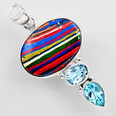 14.72cts natural multi color rainbow calsilica topaz 925 silver pendant r2270