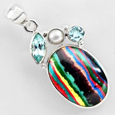 16.03cts natural multi color rainbow calsilica topaz 925 silver pendant r2272