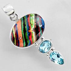 16.54cts natural multi color rainbow calsilica topaz 925 silver pendant r2273