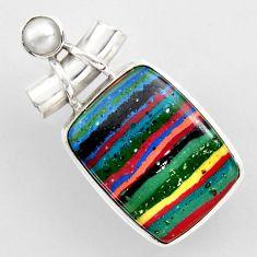 16.06cts natural multi color rainbow calsilica pearl 925 silver pendant r2276