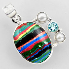 15.02cts natural multi color rainbow calsilica topaz 925 silver pendant r2280