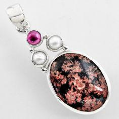 16.54cts natural pink firework obsidian garnet 925 sterling silver pendant r2291