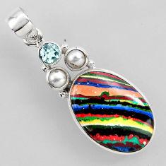 15.55cts natural multi color rainbow calsilica topaz 925 silver pendant r2301