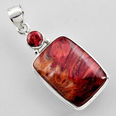 925 silver 18.15cts natural brown moroccan seam agate red garnet pendant r2305