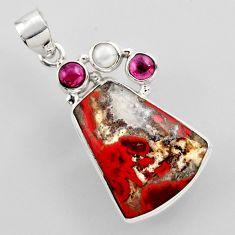 18.94cts natural brown moroccan seam agate garnet pearl 925 silver pendant r2309